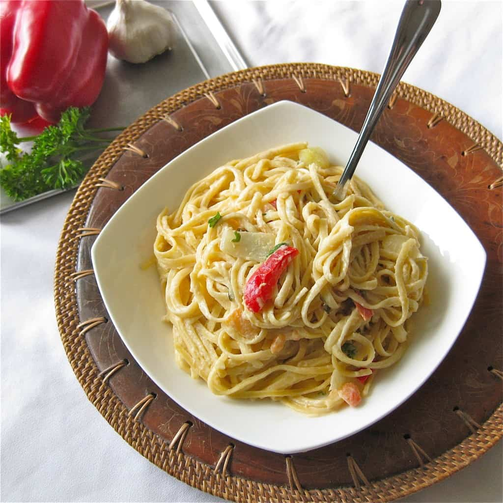 Linguine with Vegan Alfredo and Vegetables