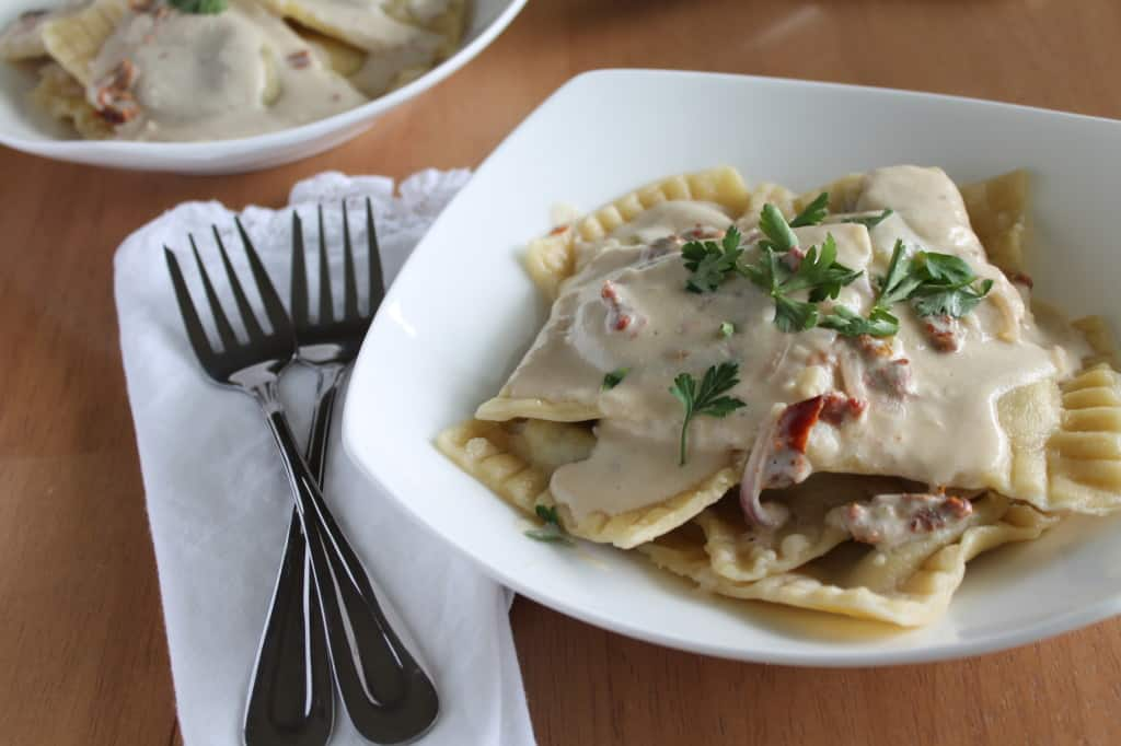 Mushroom Ravioli with Garlic Sun-dried Tomato Cream Sauce