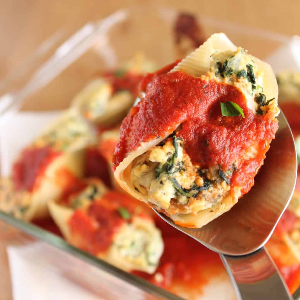 "Tofu ""Ricotta"" Stuffed Shells with Spinach and Eggplant"