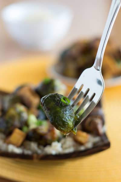 Sweet Sesame Roasted Brussels Sprouts and Tofu