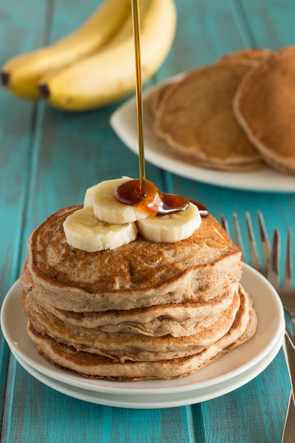 Vegan Fluffy Whole Wheat Banana Pancakes