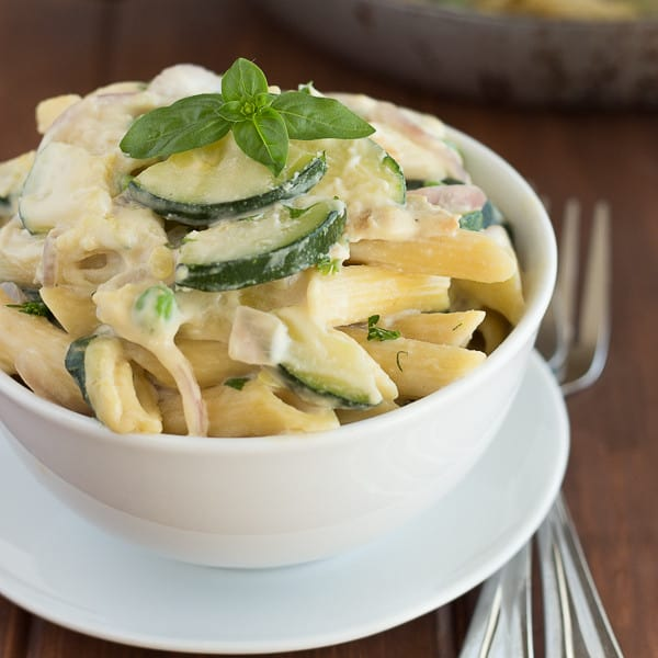Creamy Kale and Zucchini Pasta