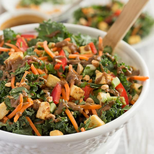 Thai Peanut Kale Salad with Crispy Tofu