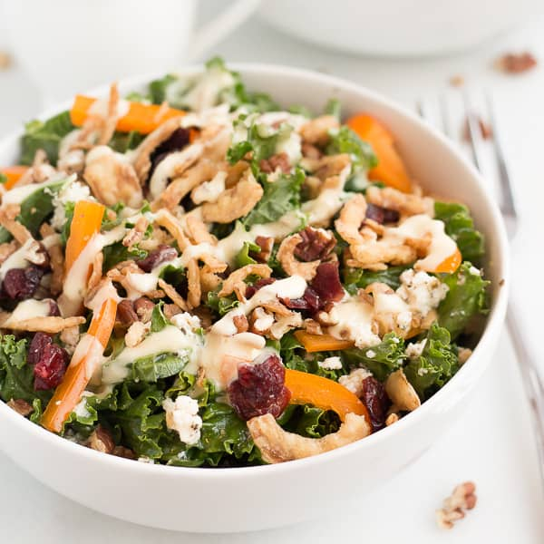 Cranberry Pecan Kale Salad with Marinated Tofu