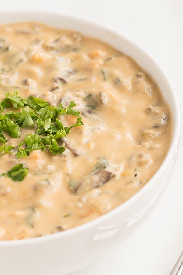Vegan Creamy Mushroom Wild Rice Soup