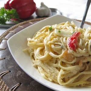 Linguine with Vegetables and Vegan Alfredo