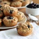 vegan blueberry muffin on white napkin