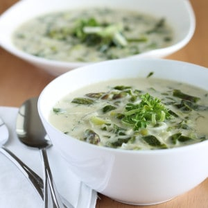 Vegan Cream of Asparagus Soup with Leeks and Collards