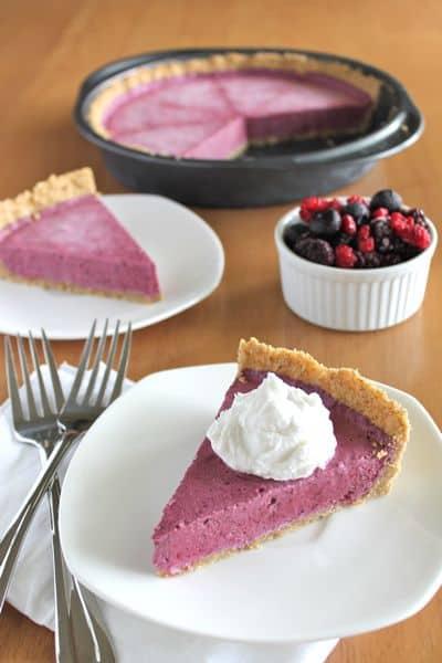 Frozen Berry Cream Pie Slice