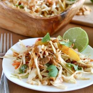 "Thai-Style Cabbage and Vegan ""Chicken"" Salad"
