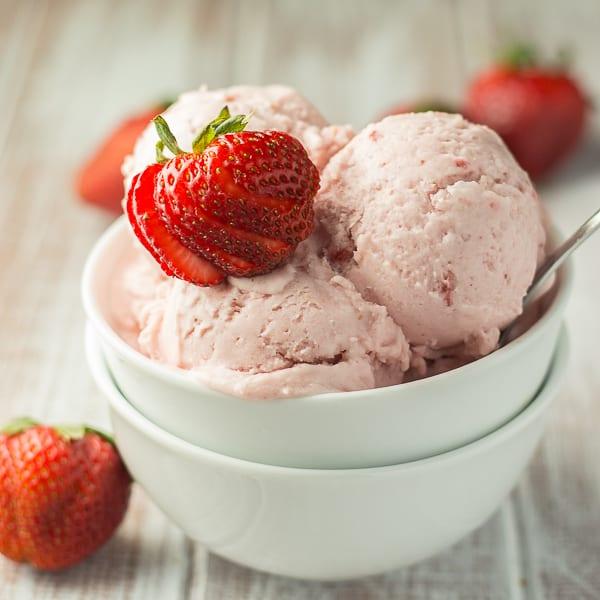 Vegan Strawberry Coconut Ice Cream Square