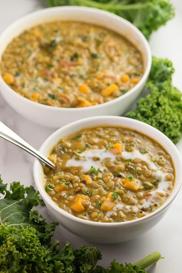 Curried Lentil Soup with Kale and Sweet Potatoes