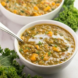 Vegan Curried Lentil Soup with Kale and Sweet Potatoes