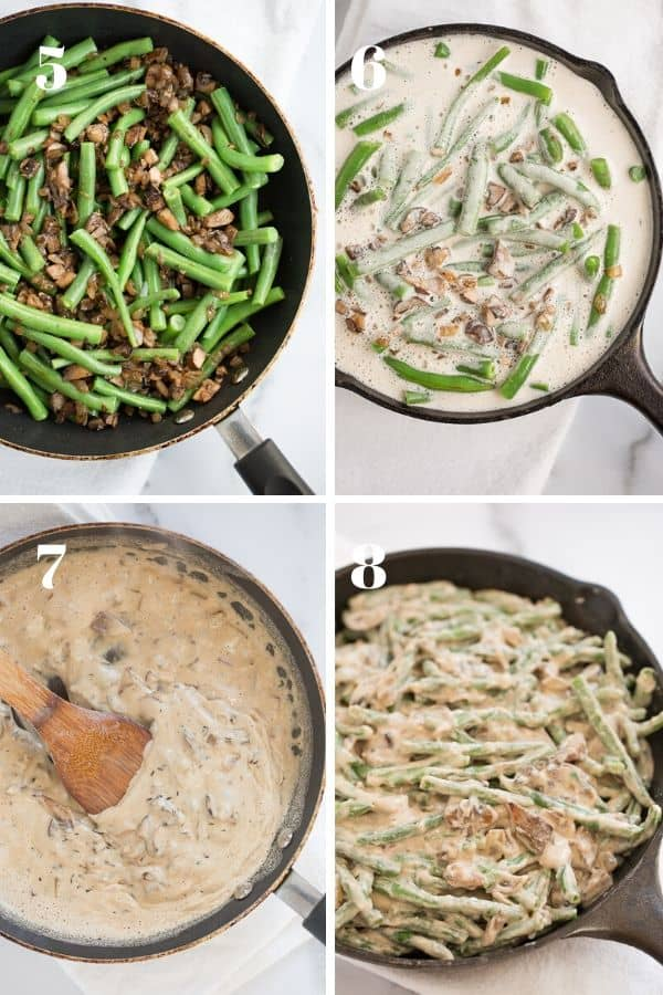 steps 5-8 of making green bean casserole--green beans and mushrooms with creamy mushroom sauce in skillet