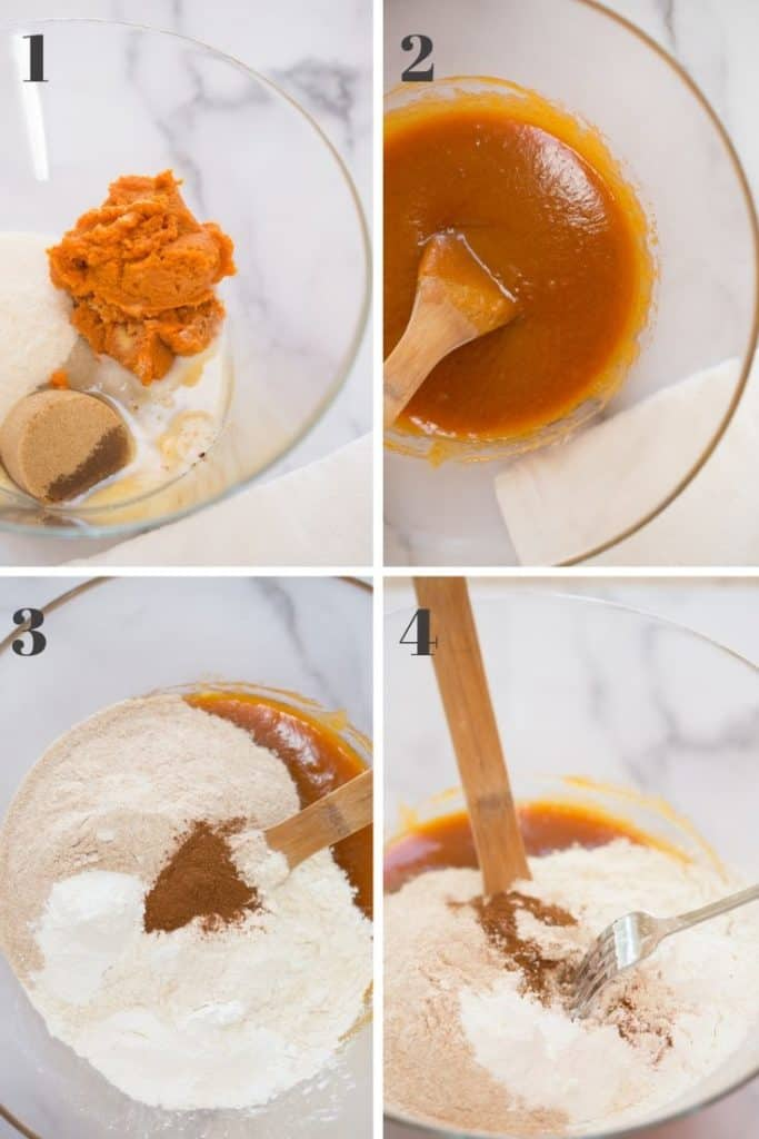collage of four images of liquid pumpkin cookie ingredients in glass bowl, mixed liquid ingredients in glass bowl, dry ingredients unmixed in glass bowl, and dry ingredients partially mixed with liquid ingredients underneath in glass bowl