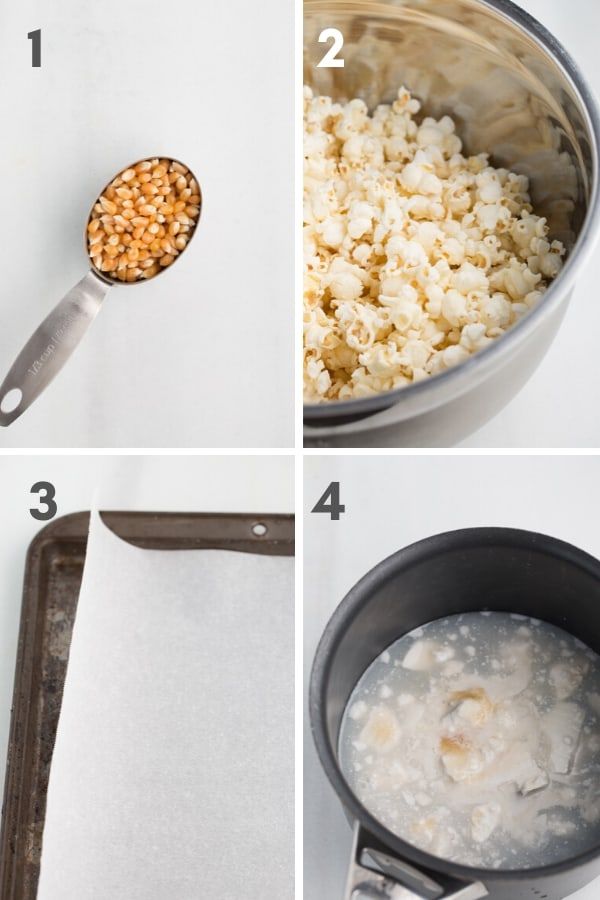 steps 1-4 of making vegan caramel popcorn--popcorn kernels in measuring cup, popped popcorn in bowl, parchment lined baking sheet, saucepan of caramel ingredients