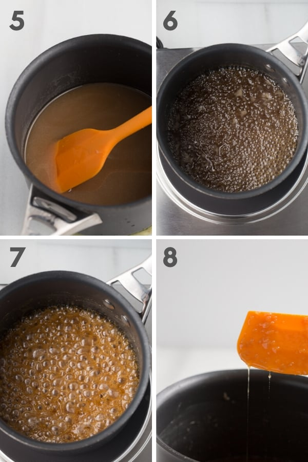 Steps 5-8 of making vegan caramel: mixed, but not boiling vegan caramel; slightly bubbling liquid vegan caramel in saucepan, rolling boil on vegan caramel in saucepan, and stringy vegan caramel hanging off of orange spatula