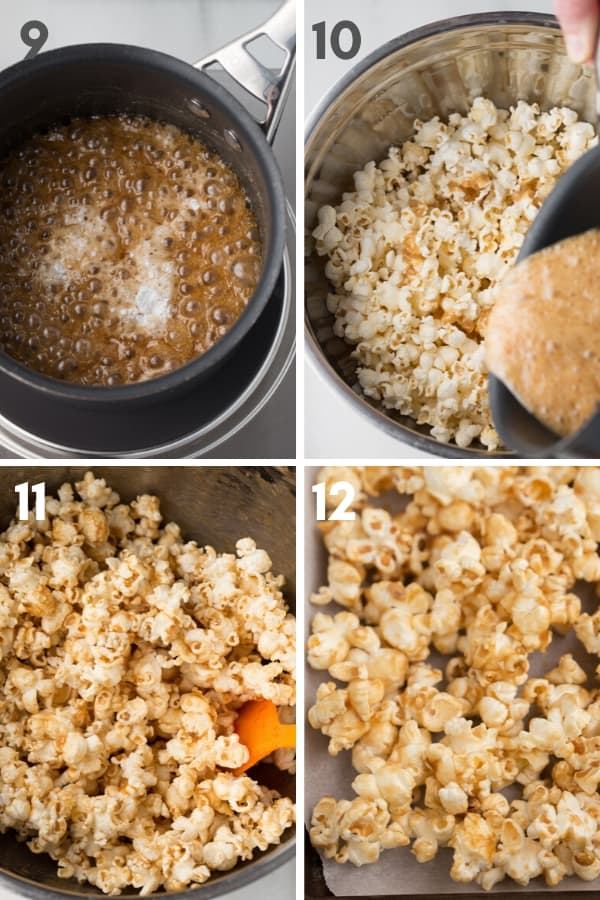 Steps 9-12 of making caramel popcorn: vegan caramel bubbling with baking powder in saucepan, caramel being poured over popped popcorn in metal bowl, stirring caramel into popcorn in metal bowl, and vegan caramel popcorn on parchment lined cookie sheet.