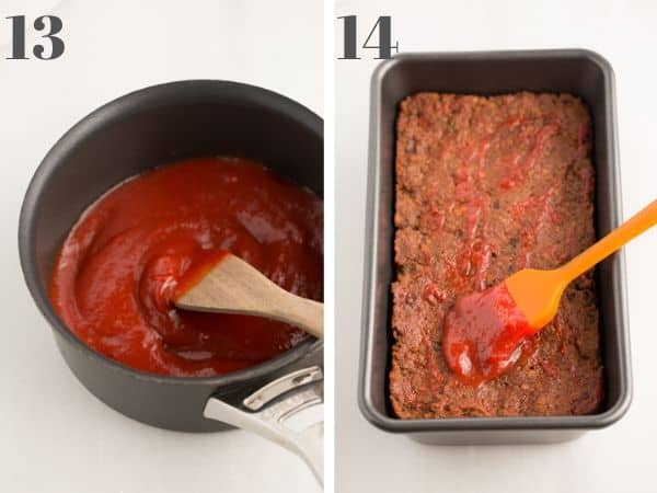 vegan meatloaf steps 13-14, with images of maple tomato glaze in a saucepan, and glaze on top of meatloaf in a loaf pan