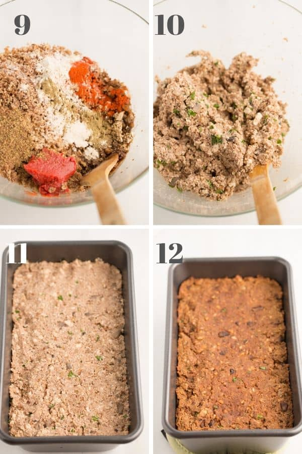 vegan meatloaf steps 9-12 with images of pre-baked meatloaf mixture in a bowl, and meatloaf in a loaf pan