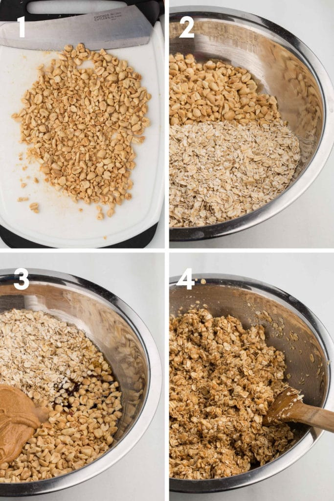 Steps collage: 1. chopped peanuts on white cutting board; 2. oats and chopped peanuts in metal bowl; 3. oats, peanuts, peanut butter, maple syrup ingredients in metal bowl; 4. mixed wet and dry ingredients in metal bowl with wooden spoon
