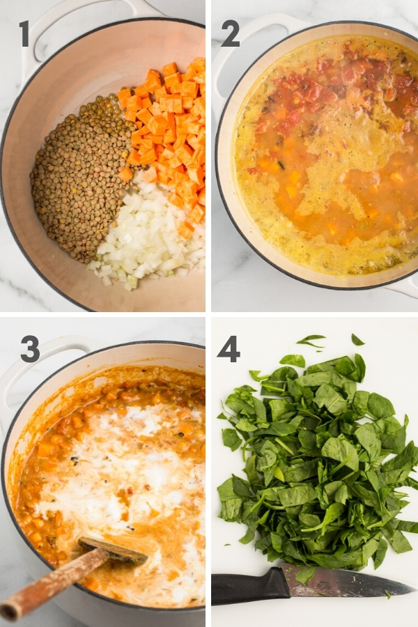 1. chopped ingredients in Dutch oven, 2. vegetable stock boiling with chopped ingredients in dutch oven, 3. coconut milk being stirred into stew in Dutch oven, and 4. chopped spinach on white cutting board with chef's knife