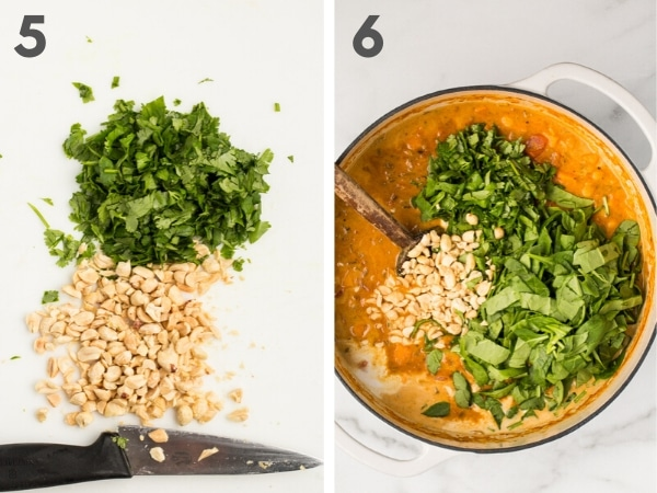 5. chopped peanuts and cilantro with chef's knife on white cutting board and 6. chopped spinach, cilantro, and peanuts floating on top of stew in Dutch oven, unstirred