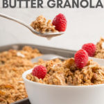 bowl of granola with spoon in white bowl with text overlay