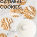 vegan apple oatmeal cookies on marble background with text overlay