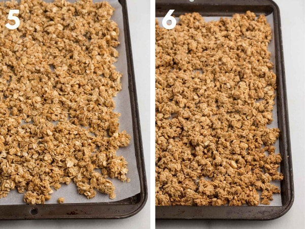 step 5: unbaked granola on parchment lined baking sheet; step 6: baked granola on parchment lined baking sheet