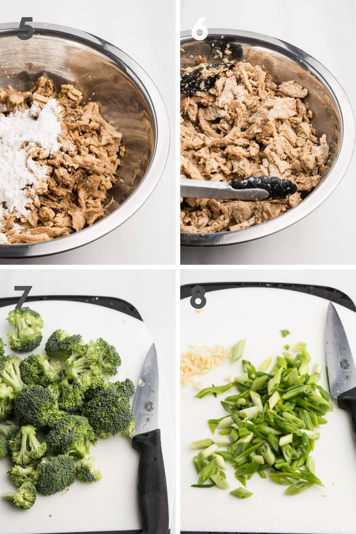 steps 5-8 of making vegan beef and broccoli: soy curls and cornstarch in bowl, chopped broccoli on cutting board, and chopped scallions/garlic on cutting board
