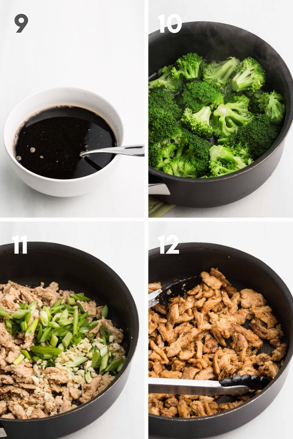 steps 9-12 of vegan beef and broccoli: soy sauce mixture in white bowl, steamed broccoli in saucepan, soy curls in skillet, crispy cooked soy curls in skillet
