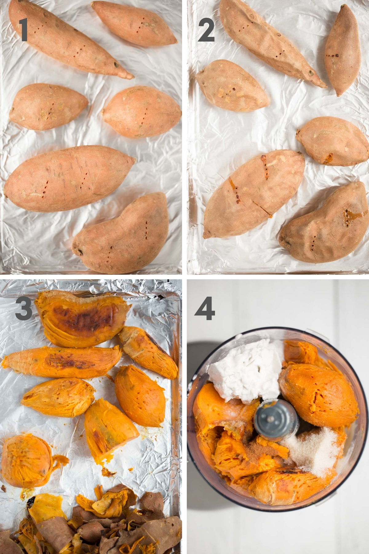 steps 1-4 of making vegan sweet potato casserole--sweet potatoes on pan before and after roasting, peeled sweet potatoes on pan and finally peeled sweet potatoes with other ingredients in food processor