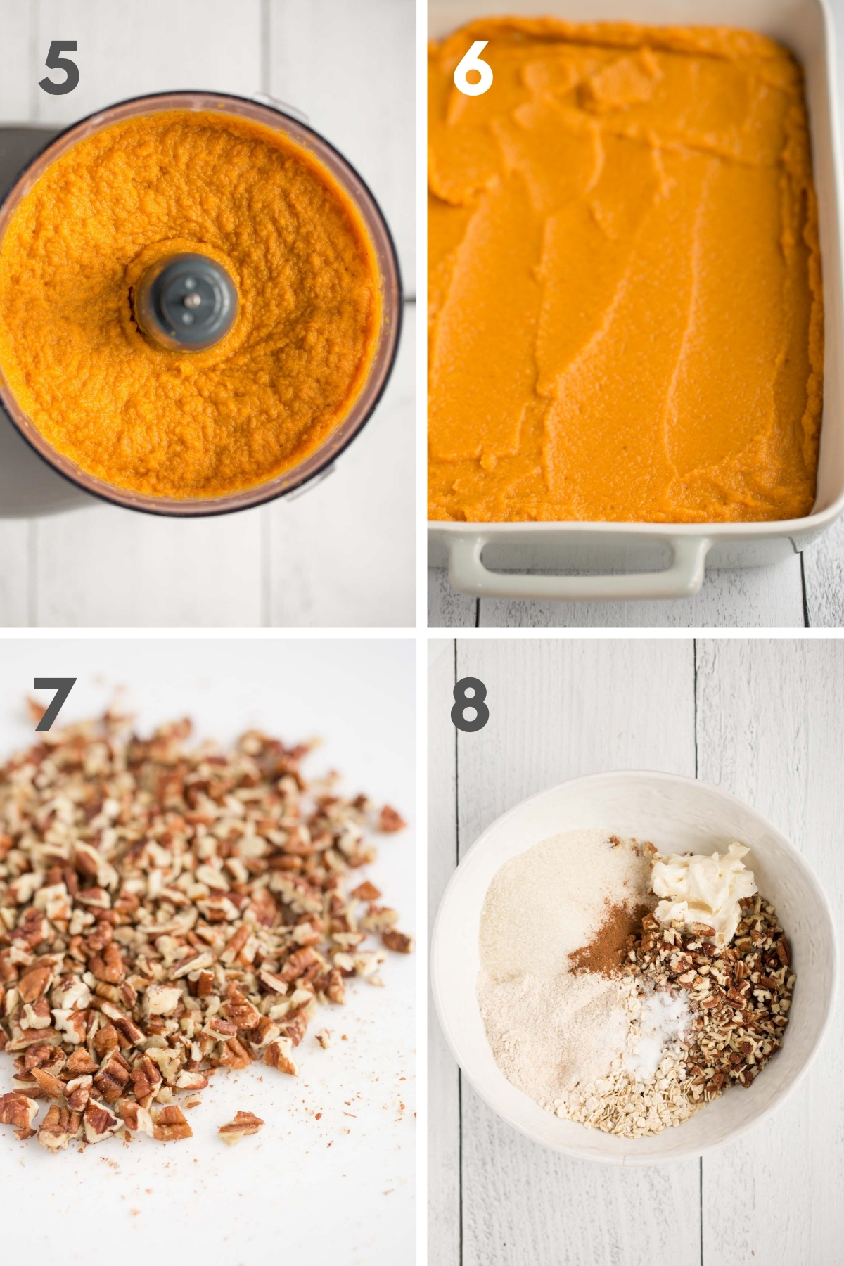 steps 5-8 of making vegan sweet potato casserole--blended sweet potato mixture in food processor and in gray casserole dish; chopped pecans on white cutting board, and dry ingredients for crumble topping in white bowl.