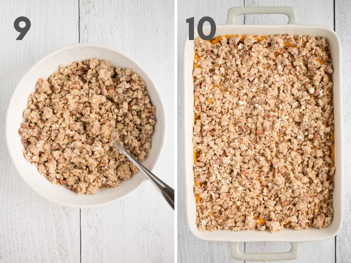 steps 9 and 10 of making vegan sweet potato casserole: pecan crumble in white bowl and fully assembled casserole in gray baking dish