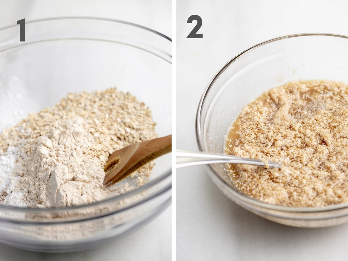 steps 1 and 2 of making vegan oatmeal cookies--dry ingredients in glass bowl with marble background and wet ingredients in a separate glass bowl with white marble background
