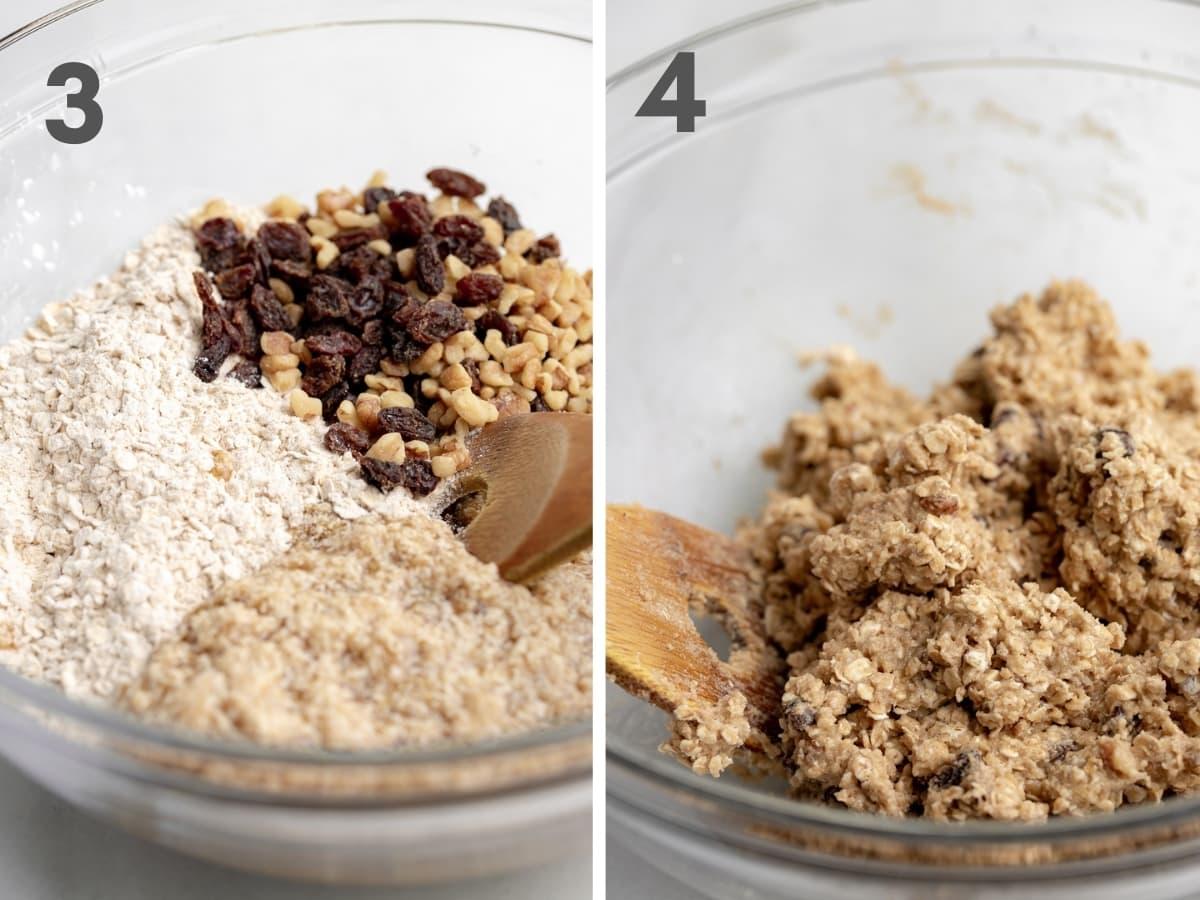 steps 3 and 4 of vegan oatmeal cookies: wet and dry ingredients (unmixed) with raisins and walnuts in glass bowl with wooden spoon and (4) mixed cookie dough in glass bowl with wooden spoon