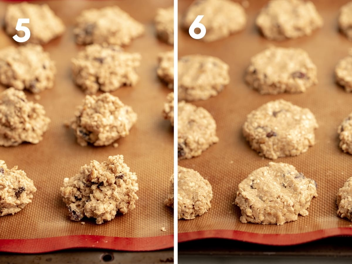 steps 5 and 6 oatmeal cookies: mounds of unbaked dough on nonstick baking sheet and (6) formed/rounded unbaked dough on nonstick baking sheet