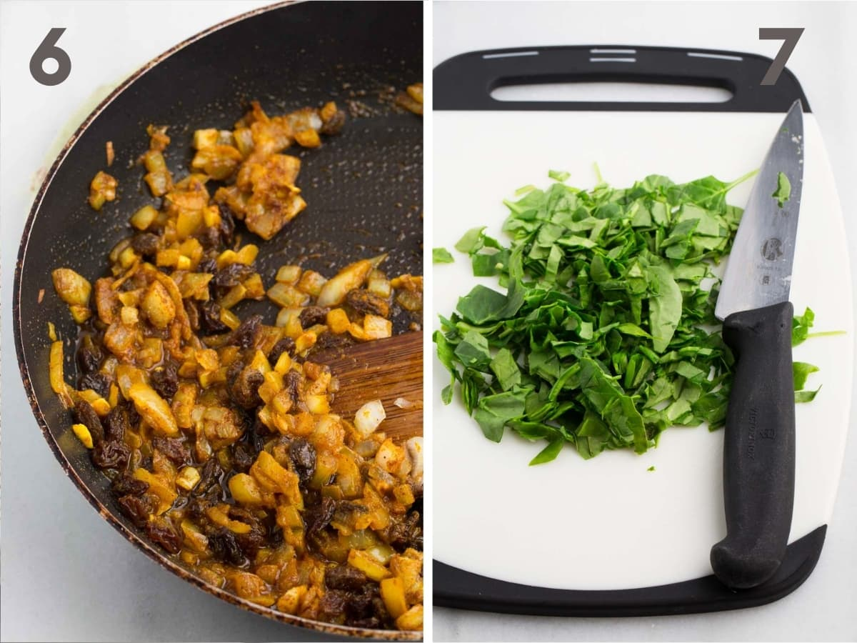 steps 6 and 7 of making curried quinoa--sauteed onion, garlic, raisins, and almonds in skillet coated with curry seasonings and (7) chopped spinach and cilantro on white cutting board