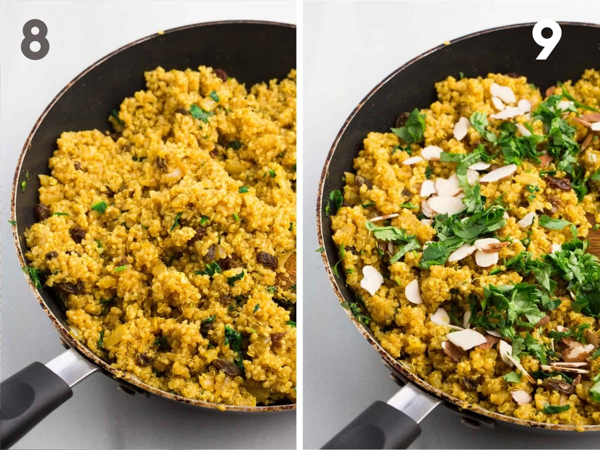 steps 8 and 9 of making curried quinoa--finished curried quinoa in skillet and finished curried quinoa with garnishing of cilantro and almonds in skillet.